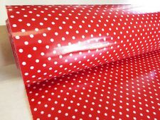 Red/White 3mm PVC POLKA DOTS tablecloth oilcloth plastic coated waterproof 1m
