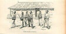 Tirailleurs Sénégalais Exercices Manoeuvres Afrique GRAVURE ANTIQUE PRINT 1905
