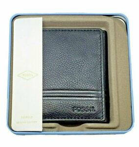 NEW Fossil Men's Wilder Trifold Black Leather Wallet NWT NEW IN BOX