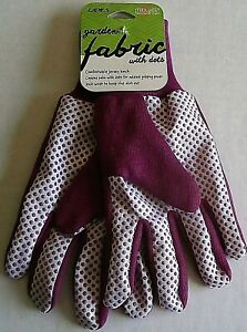 LADIES FABRIC GLOVES with Dots  by Mid West Glove Co.  Ladies   PURPLE