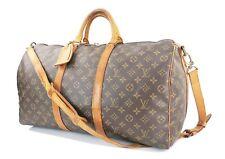 Authentic LOUIS VUITTON Keepall Bandouliere 50 Monogram Canvas Duffel Bag #32068