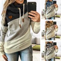 Women Cowl Neck Hoodies Loose Color Block Sweatshirt Casual Patchwork Pullover