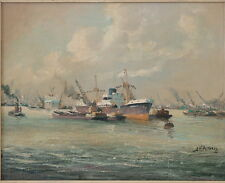 J H PETERS b.1915 AMSTERDAM INDUSTRIAL HARBOR DUTCH c.1940 FREIGHTERS & TUGS OIL