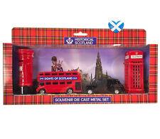 Die Cast Set POST & PHONE BOX - TAXI Double Decker BUS Scotland London BOXED UK
