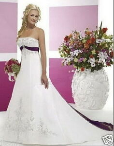 New Embroidery white and purple wedding dress custom size 2-4-6-8-10-12-14-16-18