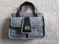 Designer DKNY CITY Donna Karan Black Wool Tweed & Patent Leather Sm Purse Bag