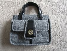 Designer DKNY CITY Donna Karan Black Wool Tweed & Patent Leather Sm Purse Bag