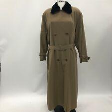 DANNI MAC Brown Coat Faux Fur Collar Smart Winter Buttons Women Size L 3729