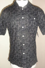Men's Croft & Barrow Short Sleeve Button Front Black Geo Top Shirt Size Small
