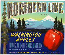 *Original* NORTHERN LINE Snowy Mountain Pine Trees Apple Crate Label NOT A COPY!