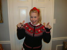Ugly Tacky Christmas x mas Tree Snowflake Bling Sweater M