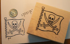 P10  Pirate Flag rubber stamp wood mounted