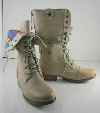 NEW Ivory Ankle Lace Combat  Riding Winter Mid-Calf Boot WOMEN Size 7.5