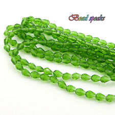 40 pcs 7×5 mm Small Grass Green Faceted Teardrop Glass Crystal Beads CS204