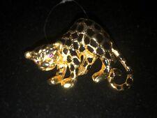 VTG PARK LANE Rhinestone Black Enamel Leopard/Cheetah Figural Brooch/Pin/Pendant