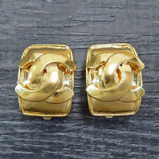 CHANEL Gold Plated CC Logos Vintage Square Clip Earrings #6529a Rise-on