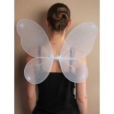 New Ladies/ Girls White Net Fairy Wings with Silver Glitter Angel White Wings