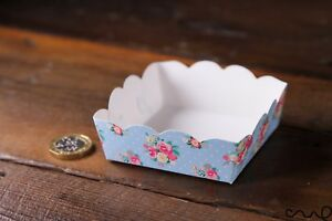 10 x Blue Floral Paper Party Tray Food Grade Shabby Chic Food Snack Serving 662