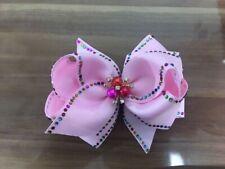 "4 BLESSING Girl 4.5"" Shine Hair Bow Clip Rhinestone Rainbow Pearl Flower B"