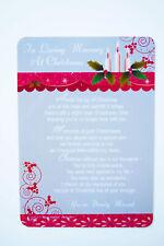 Christmas Memorial Card Graveside Loving Memory Friend Family Poem Verse Grave