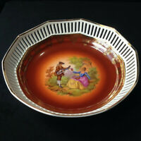 """Fragonard """"Love Story Courting Couple"""" Germany Reticulated Porcelain Bowl"""