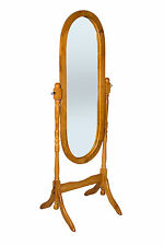 Oak Finish Wooden Free Standing Full Length Cheval Mirror M01OAK