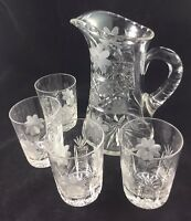 "American Brilliant Cut Glass ABP Floral Cane  8 3/4"" Pitcher & 4 Tumblers"