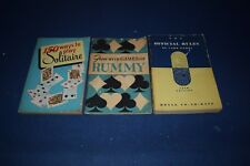 3 Vintage Card Game Books SOLITAIRE BOOK,1950,VINTAGE,150 WAYS Games of Rummy +