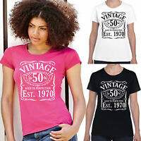 50th birthday t shirt Ladies, Vintage Since 1971 Funny t shirts gift for women