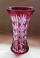 WMF Geisslingen Vase geschl. Rot/Transp. Überfang Kristallglas Stand signiert