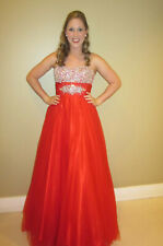 MAC DUGGAL Couture Red Pageant Prom Ball Gown Beaded Rhinestone Sz 6 Not Altered