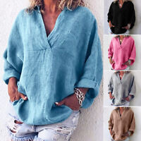 Women Boho Long Sleeve Cotton Linen Kaftan Ladies Baggy Blouse Tee Shirt Tops