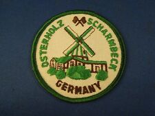 Vintage Osterholz Scharmbeck Germany Souvenir Embroidered Iron On Patch Windmill