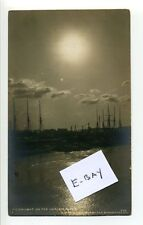 Nyc Ny Rppc real photo sailing ships three masts on Harlem River, moonlight