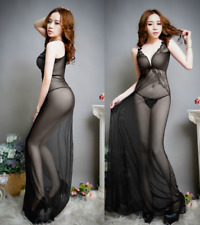 Top quality transparent black Lace Sexy Lingerie Intimate Robe Gown nightgown