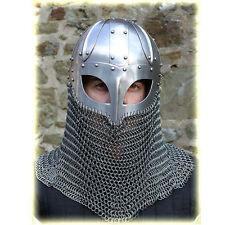 Viking Mask Helmet W/Chainmail Medieval Armour Reenactment SCA LARP Replica JK7C