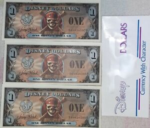 2007 Disney Dollars Pirates of the Caribbean Empress 3 consecutive serial #s unc