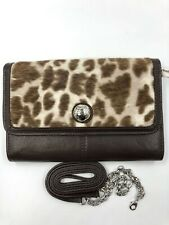 Brighton Brown Leather And  Animal Print Organizer W/ Strap