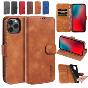 For iPone 7/8 X XR 11 12 Mini Pro Max Plus Leather Flip card slot Phone Case