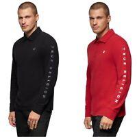 True Religion Men's Long Sleeve Block Logo Print Polo Shirt