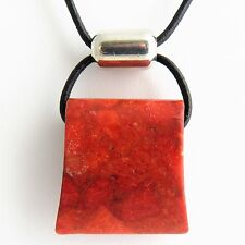 "SILPADA ""Cardinal Rule"" Necklace -Gorgeous Coral, Sterling Silver on Leather 17"""