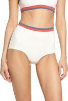 SOLID & STRIPED Womens Bikini Bottoms Katie High Waist Striped Retro Large L