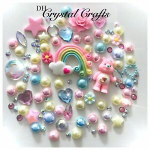 Care Bears Rainbow Theme Pink Cabochons Gems Pearls flatbacks For Decoden #2