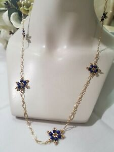 "Lapis Lazuli Gemstone Necklace Simple and Elegant 36"" 14kt Gold Filled"