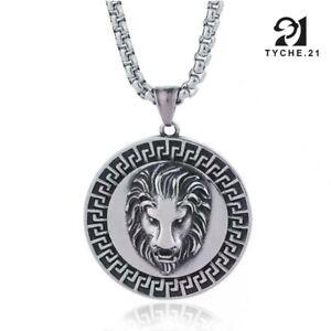 "Mens Punk Stainless Steel Lion Head Medallion Pendant Necklace w. Box Chain 24"""