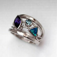 Cute 925 Silver Wedding Rings Women Amethyst & Sapphire Jewelry Ring Size 6-10