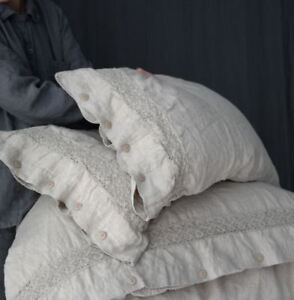 French Linen duvet cover and two pillowcases with french lace linen bedding