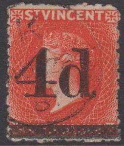 St Vincent 1881 Used 4d on 1/- Bright Vermilion Sg35 Cat £800 CERTIFICATE