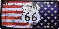 PLAQUE métal vintage USA ROUTE us 66 TEXAS   30 X 15 cm