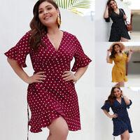 Ladies Polka Dots Plus Size Short Sleeve Sexy V-Neck Evening Party Beach Dress